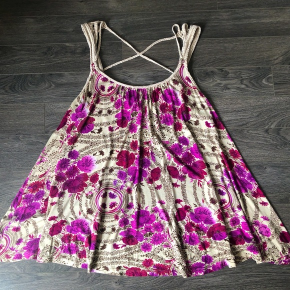 Free People floral trapeze top